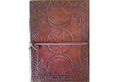 "Triple Moon Pentagram 7"" Leather Book of Shadows Journal Linen Parchment Pages"