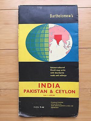 Old India Pakistan & Ceylon Map - Bartholomew's 1963