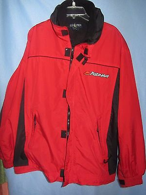Pizza Hut delivery Nylon hooded jacket w/zip out Polyester vest XL sewn logos