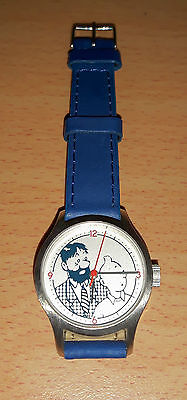 Authentic Brand new Tintin watch with blue leather strap, made in France