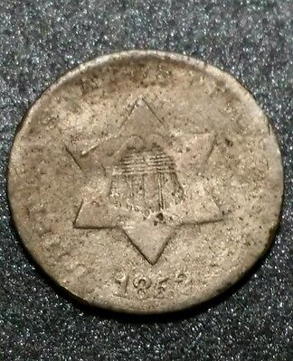 1852~P☆ USA ☆ 3c Three Cent ☆ Philadelphia Circulated Silver Coin