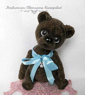 crochet miniature Bear Doll, OOAK, knitted toy,