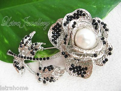 Vintage White Real Freshwater Pearl Platinum Plated Silver Rose Brooches Corsage