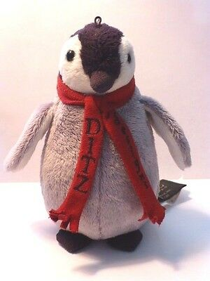 """Ditz Designs By The Hen House Plush 6"""" H. Baby Penguin w/Scarf Collectible"""