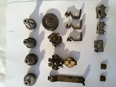 Assorted 1930 Vintage Brass Curtain Pull Track Fittings