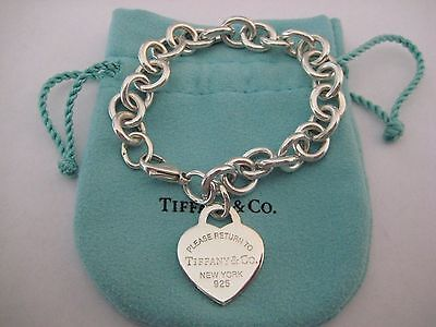"""Authentic Tiffany & Co. Return to Tiffany Heart Tag Bracelet - 7.5"""" with Pouch"""