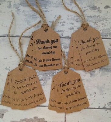 Pack of 10 Personalised Wedding Gift/Favour Vintage Luggage Tags Thank You TG070