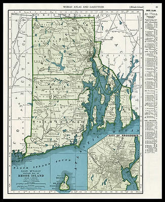 RHODE ISLAND Newport U.S. State 1945 antique color lithograph Map