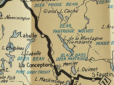 Hunting, Fishing, Game Map and Tourist Guide. 1932. Laurentian Mountains, Canada