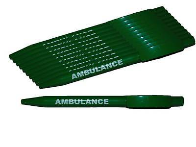 10 x Green AMBULANCE Ball Point  Pens for Paramedic EMT First Responder Medic