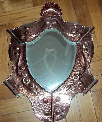 RARE Arts&Crafts COPPER bevelled Mirror J &F Pool Hayle Newlyn,Cornwall,Cornish