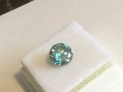 1.64 ct  7.81 mm SI1 Fancy Blue Color Round Cut Loose Moissanite US SELLER