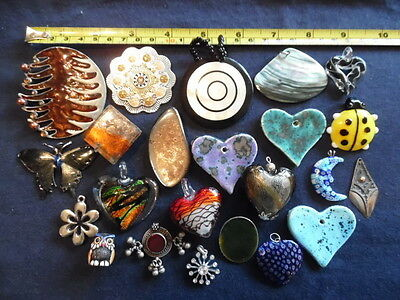 23 Assorted Pendants For Crafters/jewellery Makers. Mixed Materials & Sizes