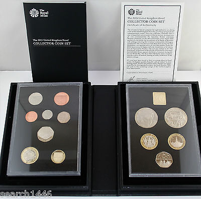 2015 UK Collector Edition Proof 13 Coin set, COA Booklet Royal Mint Black box