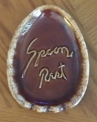 Vtg Hull Pottery Brown Drip Glaze Spoon Rest Oven Proof Usa