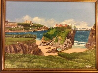 Original Large Oil Painting Newquay Cornwall Coast Scene Signed Tom Page Cornish