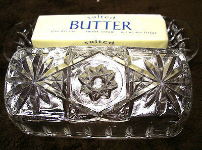 Anchor Hocking STAR OF DAVID Covered EAPC CLEAR GLASS Quarter Pound BUTTER DISH