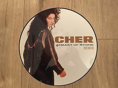 "Cher - Heart Of Stone 12"" vinyl picture disc record UK GEF75TP GEFFEN 1989"