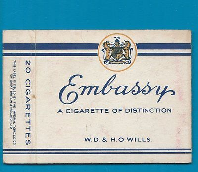 Old EMPTY cigarette packet Embassy size 20    #957