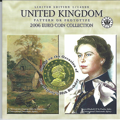 2006 Uncirculated United Kingdon pattern Euro set (for Queen's 80th birthday)