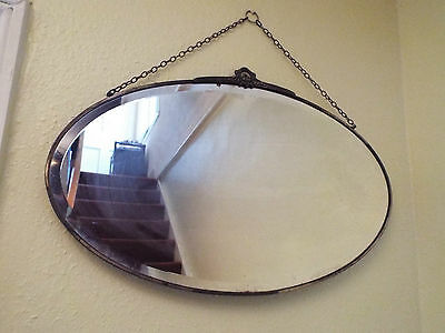 Antique Edwardian Oval Mirror Bevelled Edge Metal Frame Wall Hanging & Chain