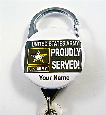 Us Army Proudly Served Carabiner Id Badge Holder, Retractable Keys,military,