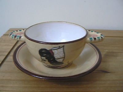 QUIMPER/FAIENCE Keralue France Twin handled cup with Saucer - Stunning