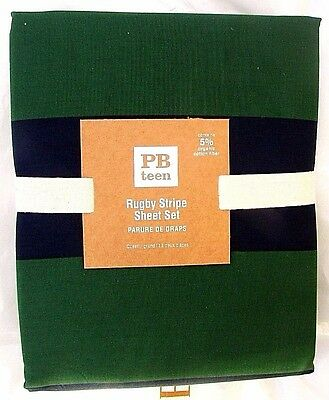 4Pc Pottery Barn Rugby Stripe Queen Sheet Set, Navy/green, Sold Out @ Pb Teen