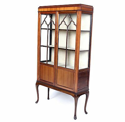 Antique Glass Bookcase Victorian Tall Glazed Specimen Display Cabinet Library Ma