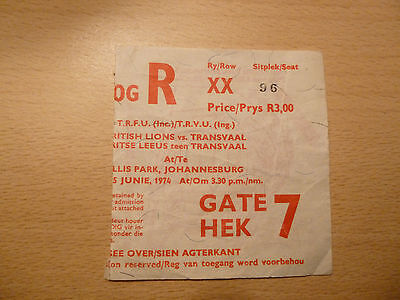 British Lions vs Transvaal June 1974, Ticket Stub