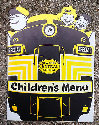 New York Central System Railroad Children's Menu with Circus Ill, Excellent Cond
