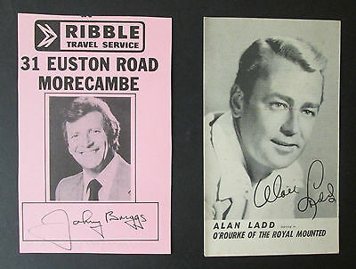 2 MORECAMBE  RELATED POSTCARDS - Johnny Briggs Autograph & Alan Ladd, Odeon