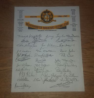 1966/67 Wolves Printed Autograph Sheet