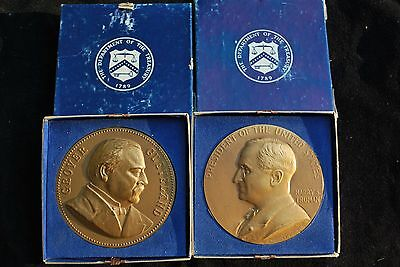 2 Ea. Presidential Inaugral Bronze 8 Oz Medals -Cleveland,  Truman