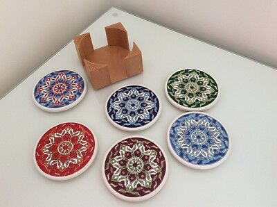 Hand Made Ceramic Coasters, Set of 6, Made in Greece