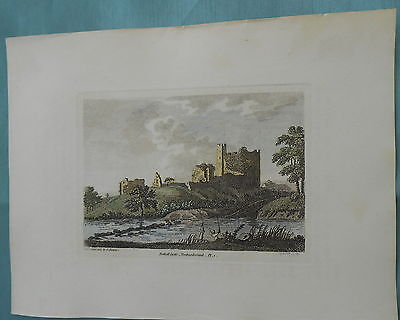 Antique Copper Print Bothall Castle Northumberland 1783 Engraved Sparrow Hooper