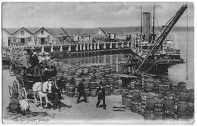 Vintage Postcard. On The Quay, Jersey. Used 1904.  Ref:71124