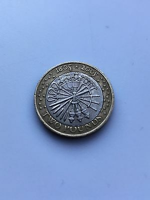 """Rare Minting Error Guy Fawkes Two Pound Coin (2005) """"Pemember"""""""