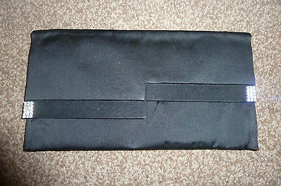 Cerimony black satin with encrusted crystals clutch wallet purse