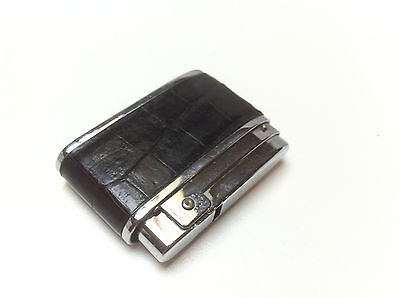Briquet SILVER MATCH compound ancien cuir Croco leather vintage french lighter