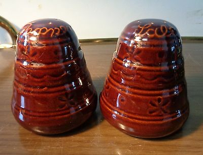 Vintage Marcrest Daisy Dot Salt & Pepper Shakers Brown Stoneware 1950's USA