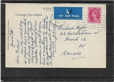 "1962 Air Mail Postcard ""MARTYRS MEMORIAL,OXFORD"" To Canada From Worcs 8d Wilding"