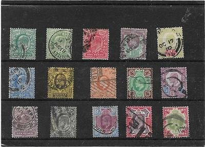 British Stamps King Edward 7th Set Of All Values To One Shilling Used Collection
