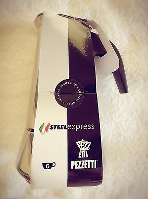 NEW Pezzetti Stainless Steel Espresso Stovetop Coffee Maker 6 Cup