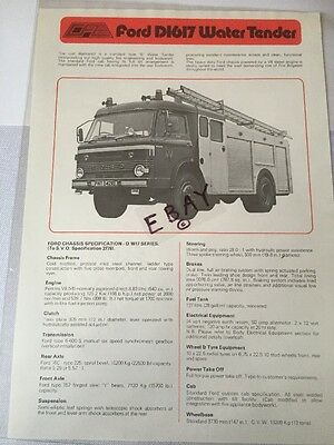 Fire Brigade Memorabilia CFE Ford D1617 Engine Specifications Brochure Leaflet