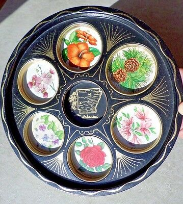 Vintage ARKANSAS Round Metal Tray with Individual Round Drink Holders