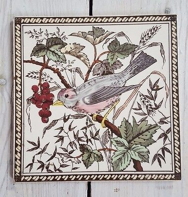Floral Finch Victorian Fireplace Tile