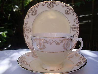 Vintage Royal Vale Tea Set Trio, Tea Cup, Saucer & Side Plate Soft Lemon & Gilt