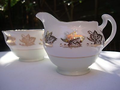 Vintage Royal Vale English Tea Set Milk Jug & Sugar Bowl Mint Green & Gold Gilt