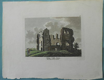Antique Copper Print Of Odium Castle Hampshire 1784 Engraved Sparrow By Hooper